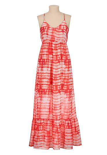 Lattice back chiffon tie dye maxi dress - maurices.com