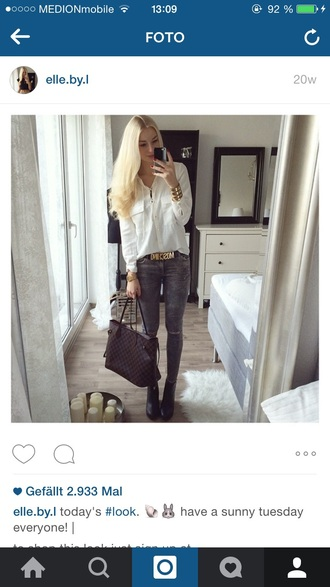 bag blouse white white top jeans ripped jeans grey