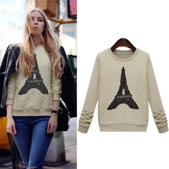 paris chic sweater Eiffel Tower pullover beige