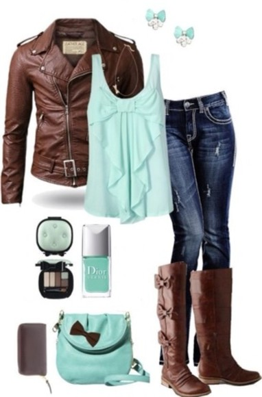 earrings jeans jacket leather jacket tank top brown leather boots nail polish