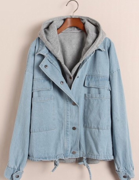 Light blue hooded denim two piece jacket