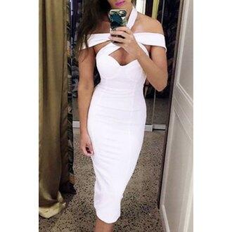 dress white sexy fashion trendy hot party stylish summer midi dress clothes rose wholesale-jan