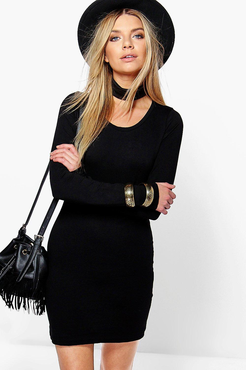 7199a5359225 Camille Long Sleeve Jersey Bodycon Dress