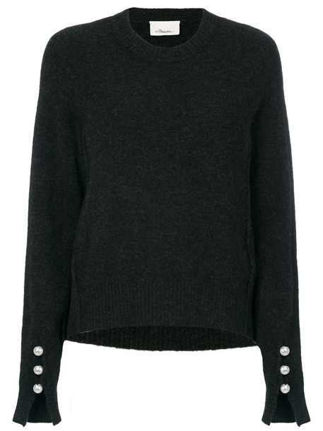 3.1 Phillip Lim sweater women spandex pearl embellished wool grey