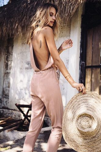 jumpsuit nude jumpsuit boho boho chic sun hat straw hat backless tattoo all nude everything summer outfits backless jumpsuit big hat