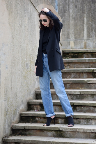 shot from the street blogger jeans pea coat mom jeans peep toe heels mules