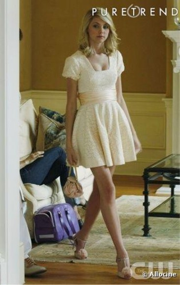 gossip girl jenny humphrey taylor momsen dress white dress beige dress lace shoes