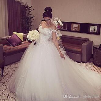 dress princess ball gown princess dress tulle wedding dress white beaded dress sparkly dress