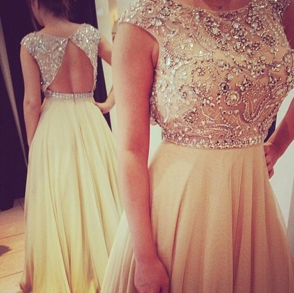 tan dress dress prom long prom dress jewels prom dress long prom dresses white dress prom dress beautiful dress formal elegant open back open back gold open back dresses beige dress white long girly beige pearls gold cream tulle open back gold dress gold sequins sparkly dress backless prom dresses