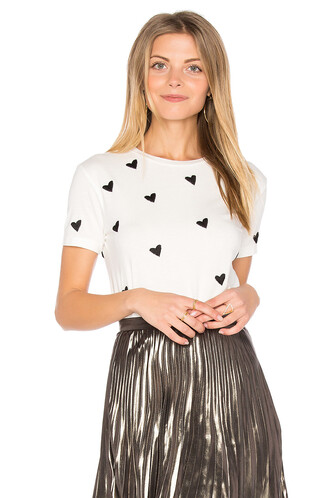 heart embroidered white top