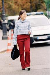 vanessa jackman,blogger,top,shirt,pants,bag