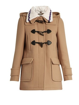 coat duffle coat wool camel