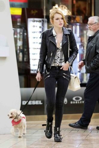 shirt flannel shirt bella thorne jeans jacket top black flannel stripes off-white leather zip silver