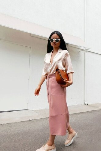 shirt satin shirt pajama style nude shirt satin skirt midi skirt pink skirt high waisted skirt bag brown bag nude shoes platform shoes sunglasses all pink everything blogger long skirt nude dusty pink