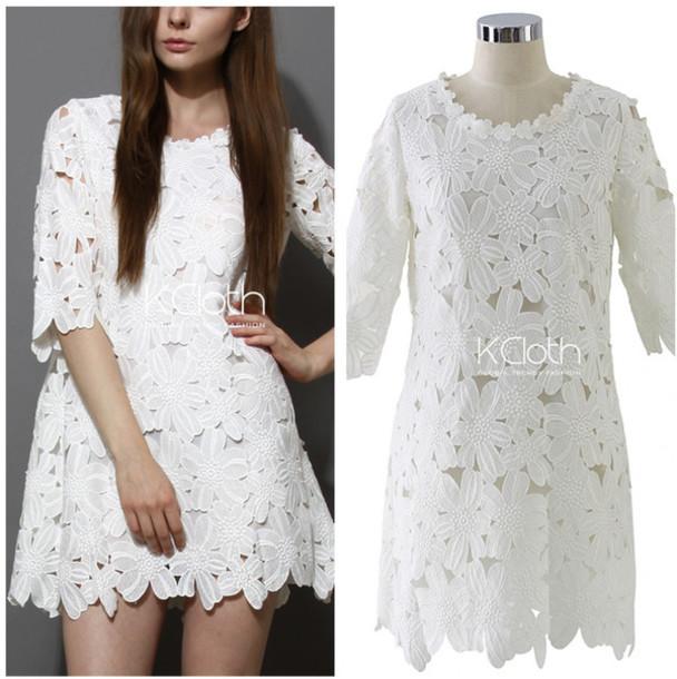 dress lace dress white dress floral dress fashion floral dress lace top lace bloue