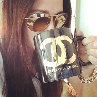 home accessory black and gold chanel coffee mug