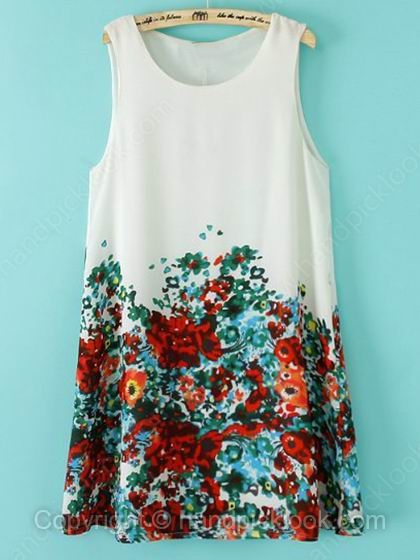 White Round Neck Sleeveless Floral Print Dress - HandpickLook.com