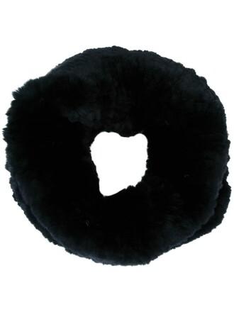 fur women scarf black