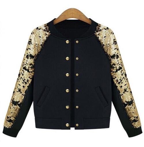 Black sequin sleeve bomber jacket