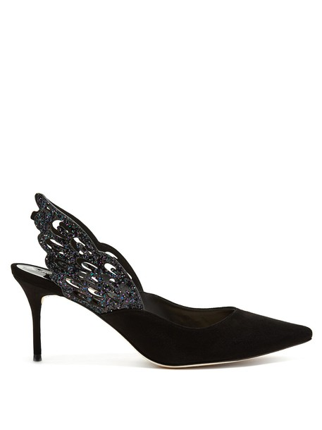 Sophia Webster suede pumps butterfly pumps suede black shoes