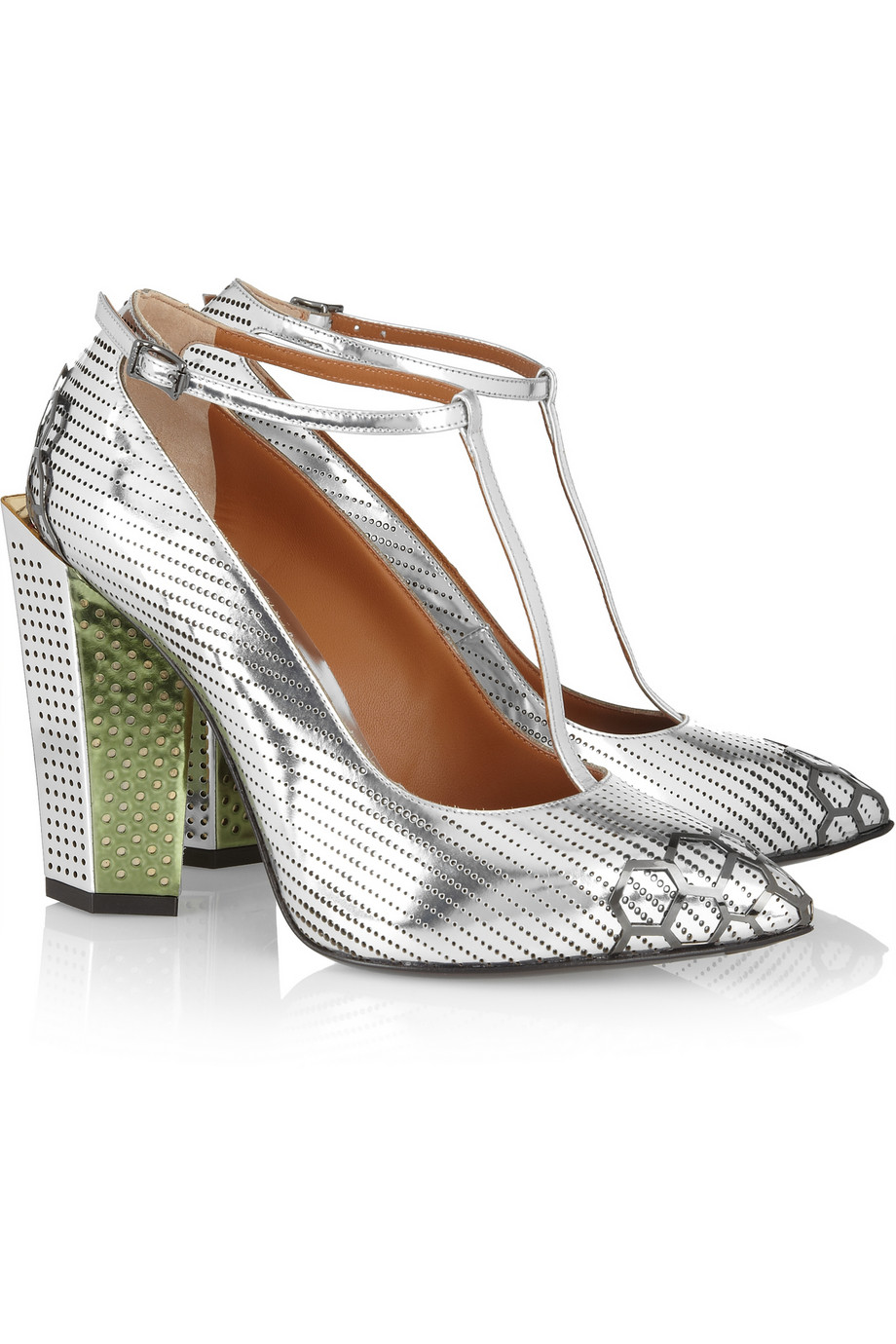 Fendi Metallic leather T-bar pumps – 50% at THE OUTNET.COM
