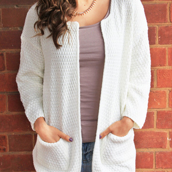 Basic knit round neck cardigan – sirenlondon