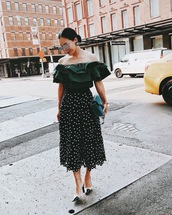 hallie daily,blogger,off the shoulder,ruffle,polka dots,maxi skirt,mirrored sunglasses,black skirt,ruffled top,midi skirt,date outfit,nordstrom