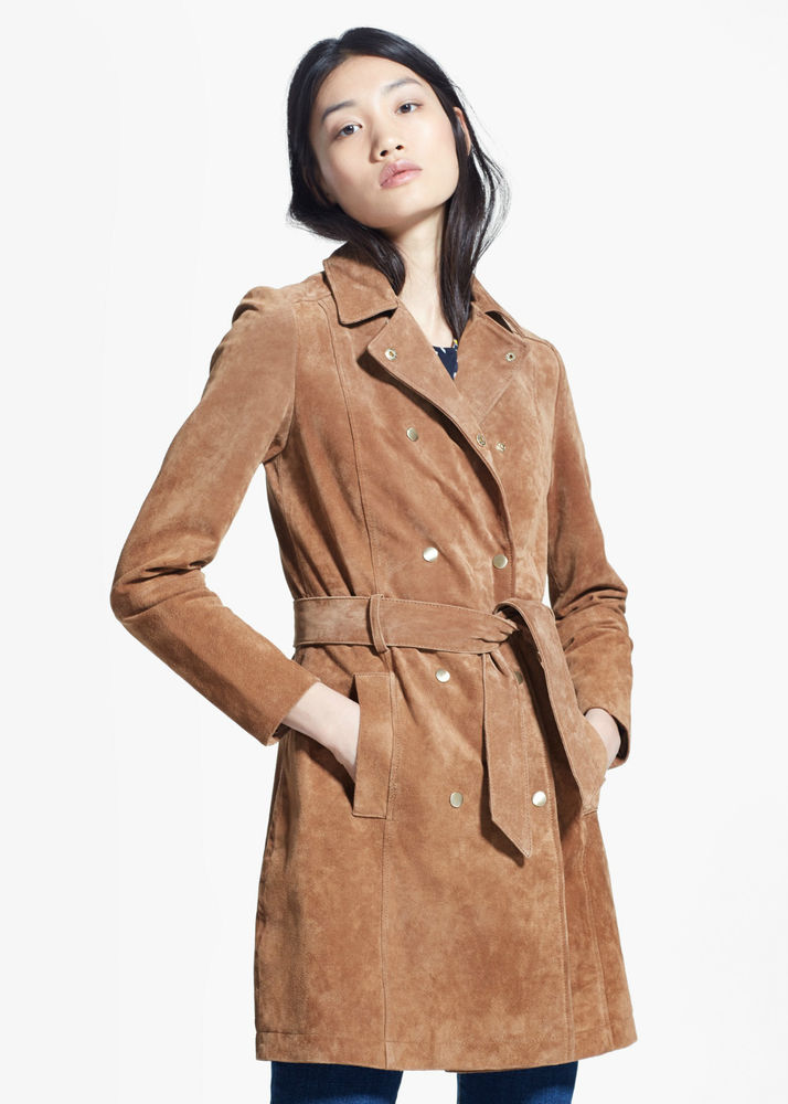 Mango Brown Suede Leather Suede Trench Coat Ledermantel 163