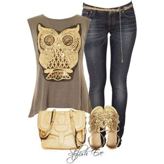 jeans gold blouse owl shirt