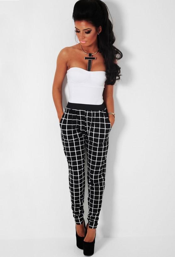Matrix grey & black leopard print harem style stretch pants