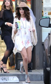 cardigan,selena gomez,dress,hat,shoes