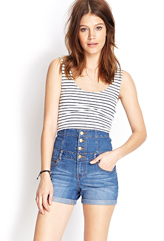 High-Waisted Denim Shorts | FOREVER21 PLUS - 2000070311