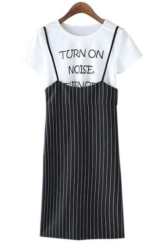 dress spaghetti straps striped dress short sleeve t-shirt twinset shirt t-shirt