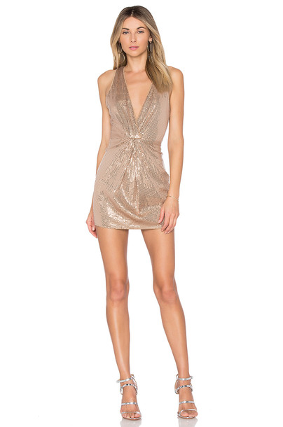 X BY NBD dress metallic bronze
