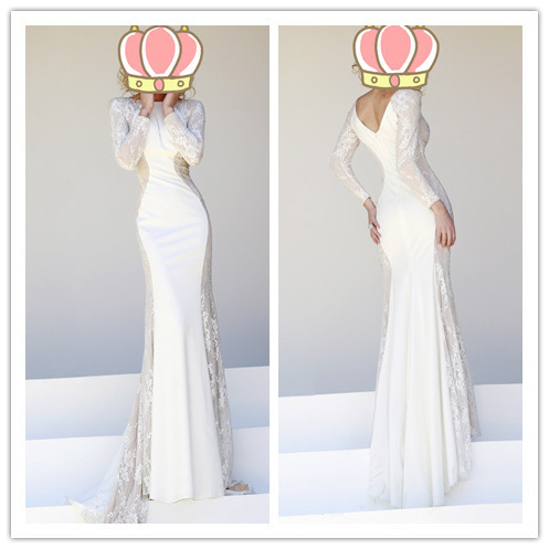 Aliexpress.com : Buy Elegant Evening Dresses Maxi Designer Long Sleeve Lace Beaded Spliced With Satin Ivory Mermaid Special Occasion Dress from Reliable bead lace suppliers on Suzhou Babyonlinedress Co.,Ltd