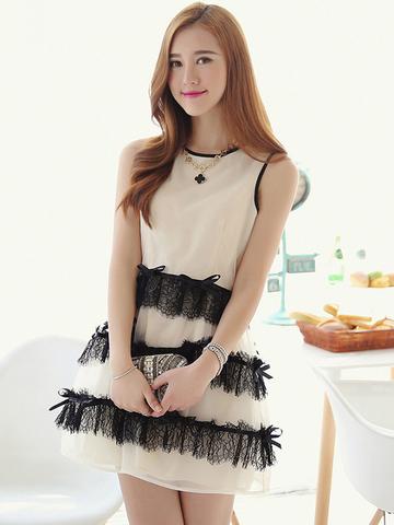 lace bow layers dress