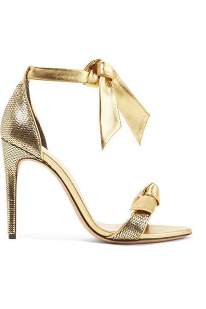Alexandre Birman bow metallic embellished sandals leather sandals gold leather shoes
