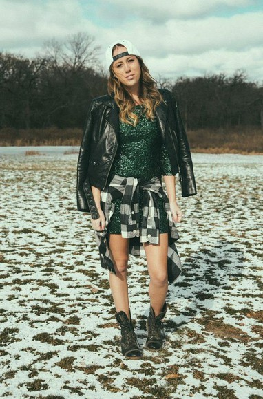 cap the whiskey wolf blogger jacket sequin dress flannel shirt combat boots rock