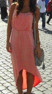 dress,coral,salmon,pink,high low,maxi dress