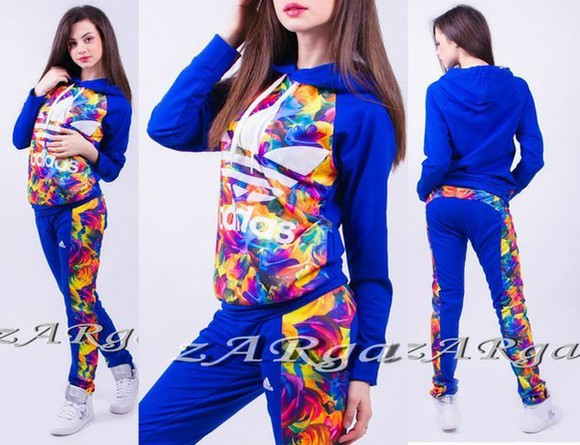 hood adidas jumpsuit floral floral print jacket flower print, crop tops flower print jumpsutis blue pants sweatsuit