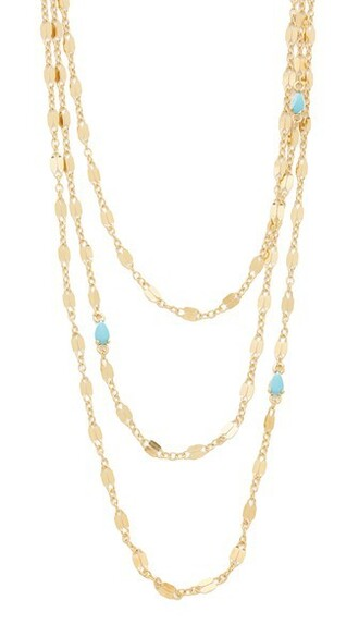 stone necklace triple necklace gold turquoise jewels