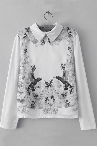cute sweater birds pretty sweater peter pan collar birds sweater symetrical printed sweater sweater
