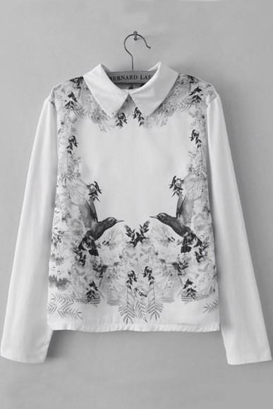 peter pan collar cute sweater birds pretty sweater birds sweater symetrical