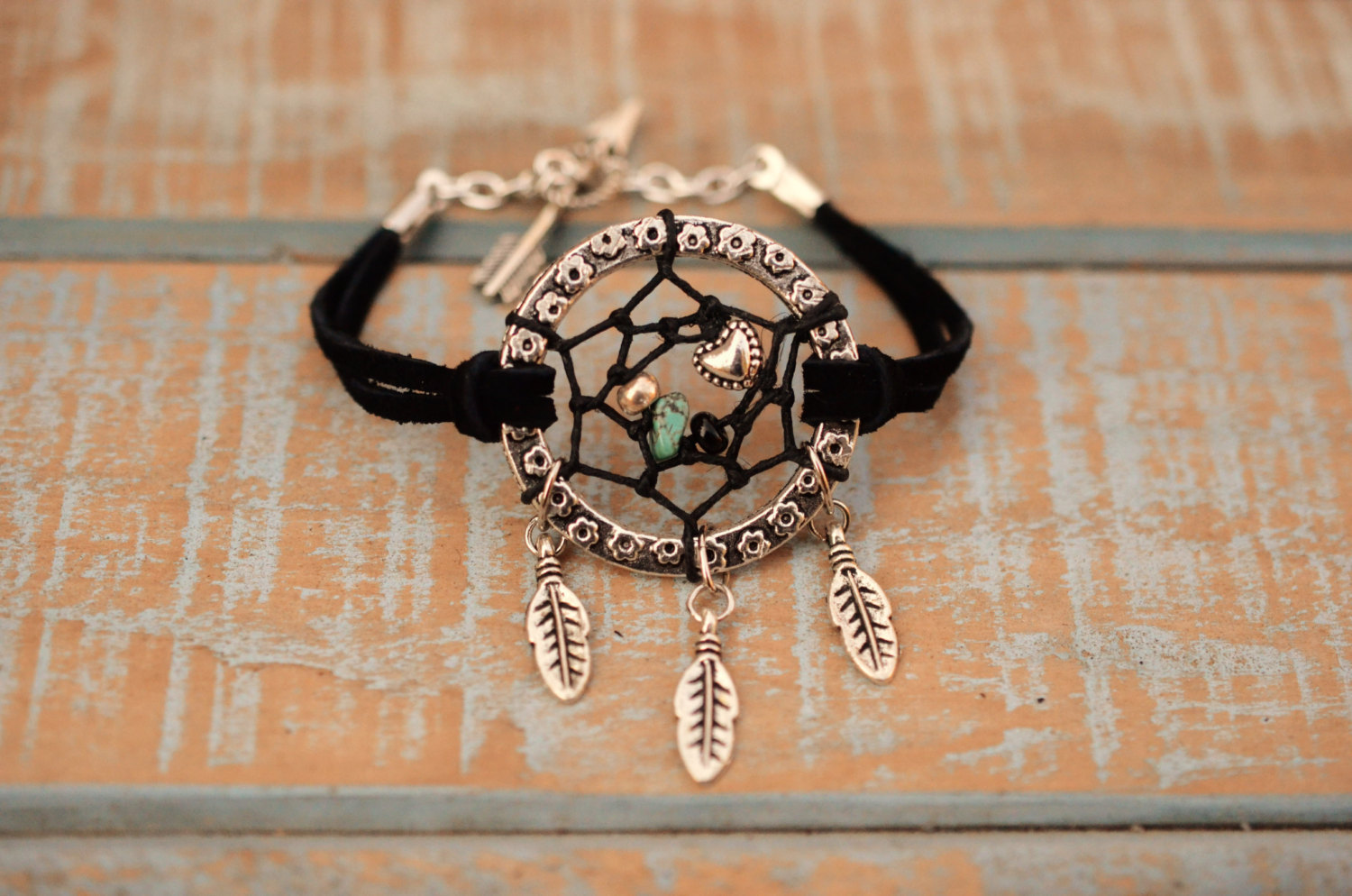 Valentine's Day Jewelry NEW Color Black Suede Dreamcatcher Bracelet