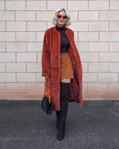 coat,faux fur coat,red coat,longline coat,courdoroy,skirt,over the knee boots,roll neck top,red