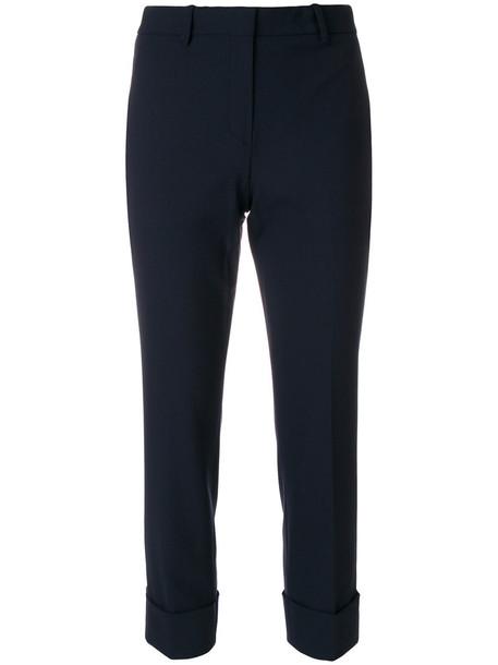 theory cropped women spandex cotton blue wool pants