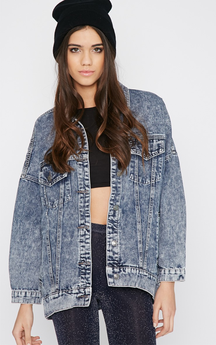 Dark Blue Oversized Denim Jacket - Jackets - PrettyLittleThing.com ...