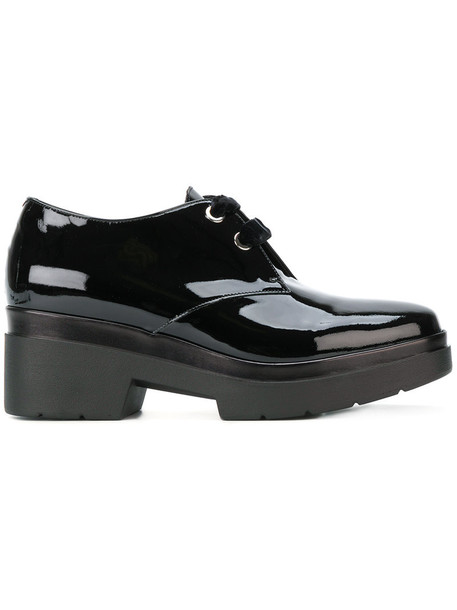 Albano women shoes platform shoes lace leather black