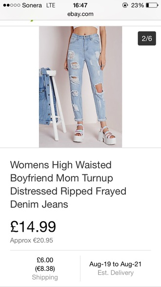 jeans boyfriend mom jeans ripped denim high waisted