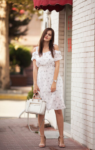 the bow-tie blogger dress shoes bag off the shoulder white dress white bag mini dress nude sandals sandals
